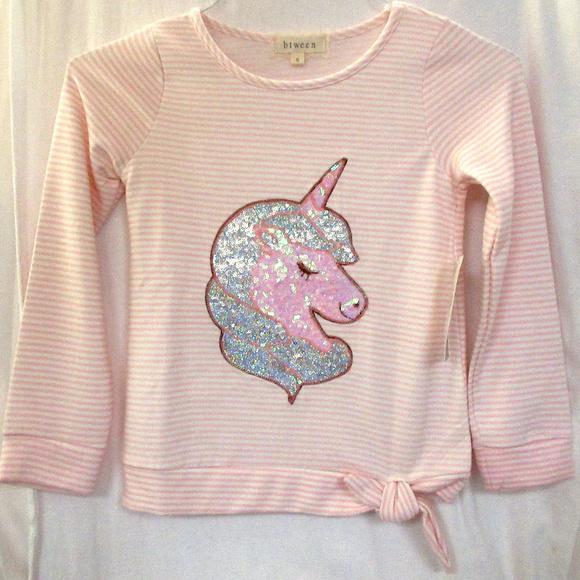 3fccb80c493f6 btween Shirts & Tops   Girls Sz 8 Glitzy Unicorn Striped Ultra Soft ...
